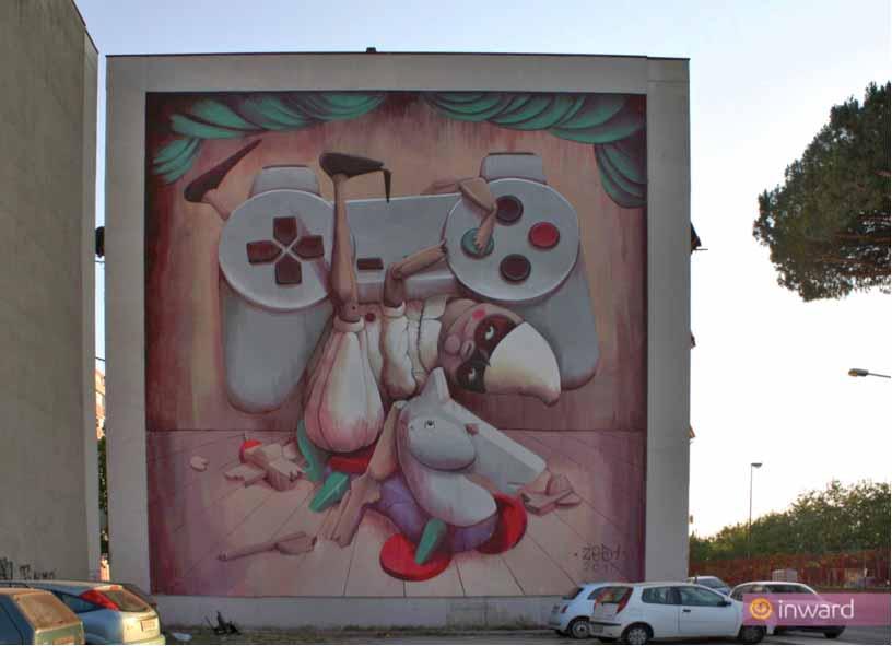 """parco dei murales, opera """"A' pazziella n'man è criature"""""""