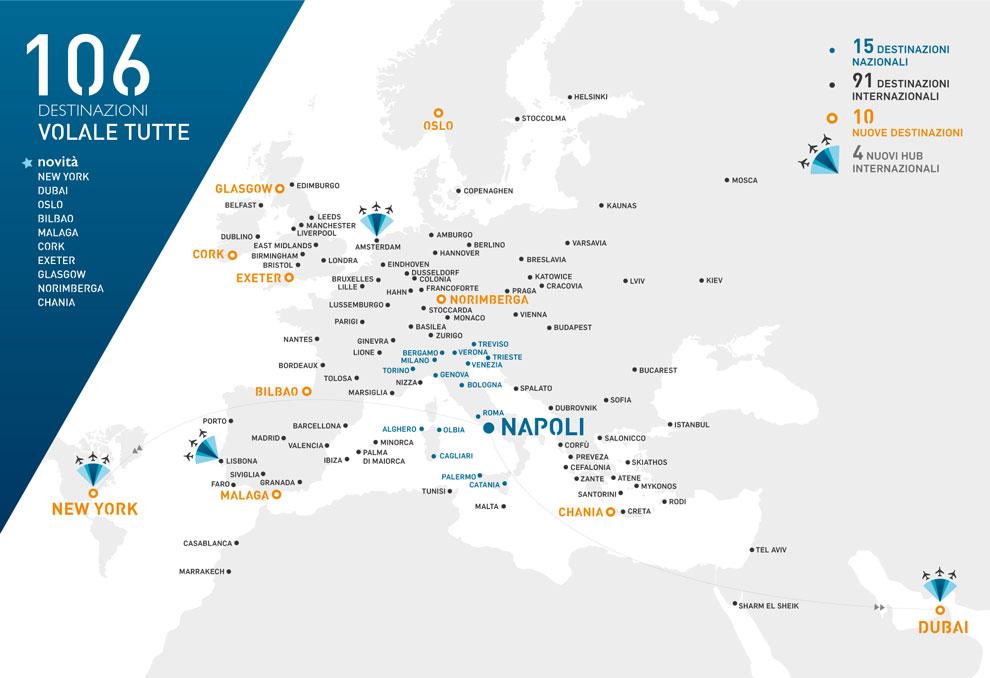 destinazioni dell'aeroporto di napoli, estate 2019