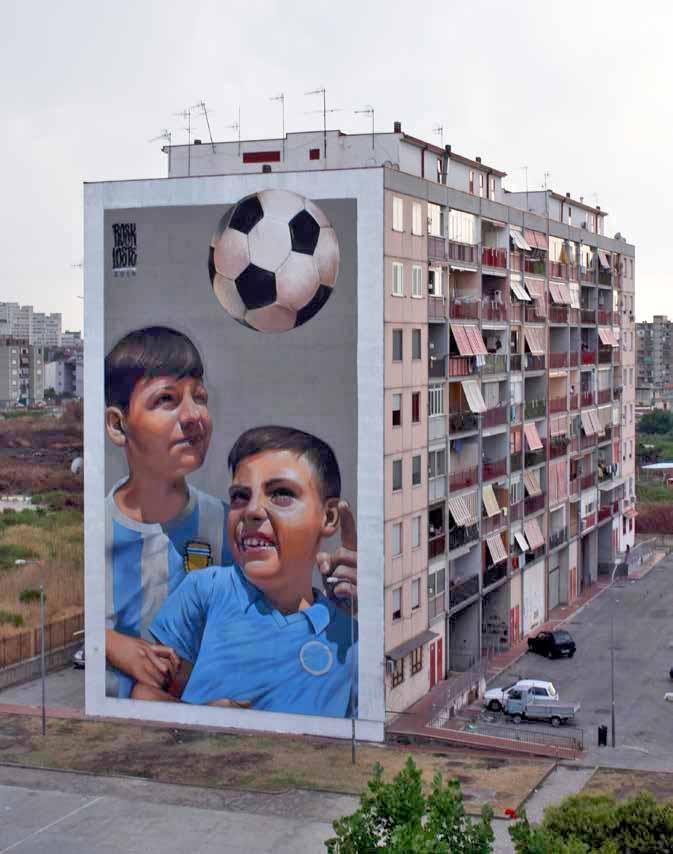 """parco dei murales, opera """"Chi è voluto bene non s'o scorda"""""""
