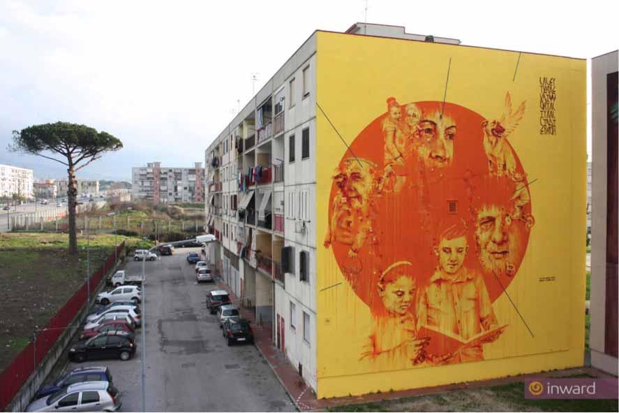 parco dei murale a napoli, dettaglio di Lotrattenemientodepeccerille