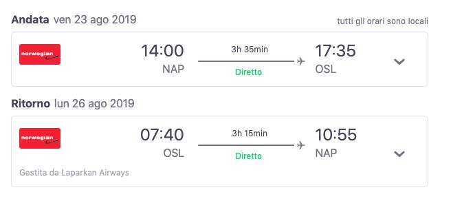voli low cost napoli oslo a settembre 2019